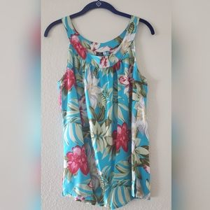HIBISCUS COLLECTION Blue Hawaiian Print Sleeveless